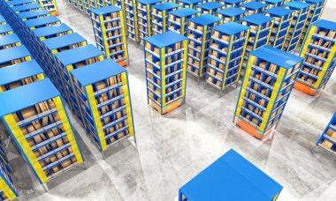 Automated modern warehouse 3d image stock vector