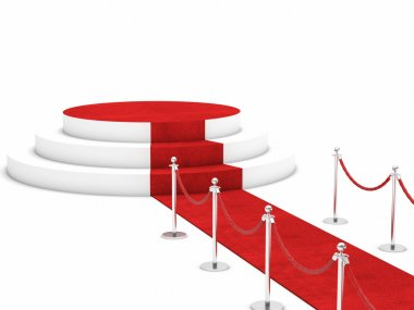 Red carpet and rope barrier stock vector
