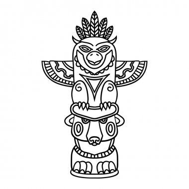 Doodle Traditional Tribal Totem Pole isolated on white background, coloring book