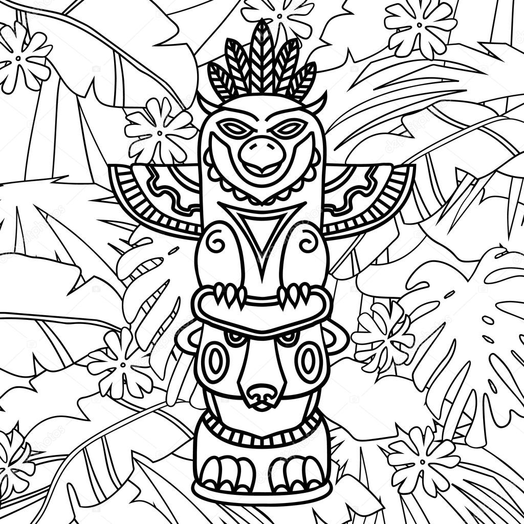 Doodle Tótem tribales tradicionales sobre fondo de plantas, libro ...