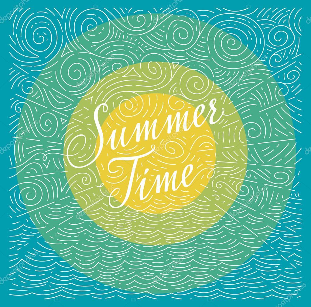 Verão Frase Escrita à Mão Na Cor De Fundo Do Mar Sol E Céu Doodles