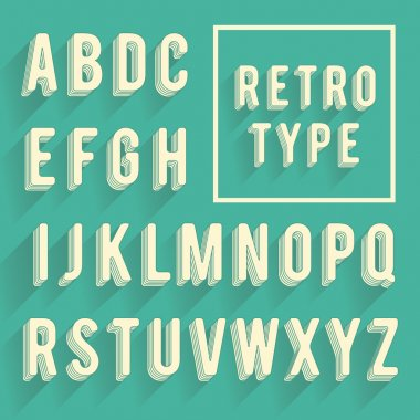 Retro poster alphabet. Retro font with shadow. Latin alphabet le
