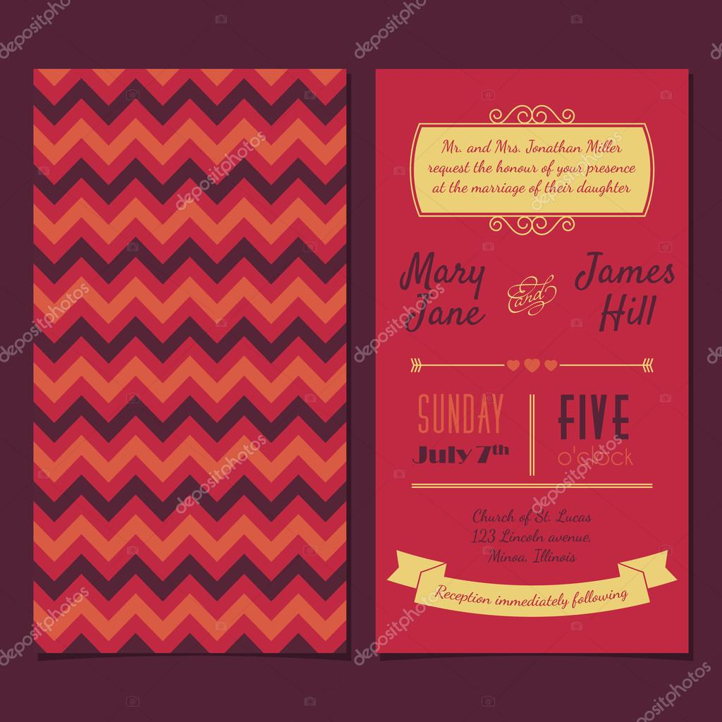 Vector Vintage Invitation Card With Background Zigzag