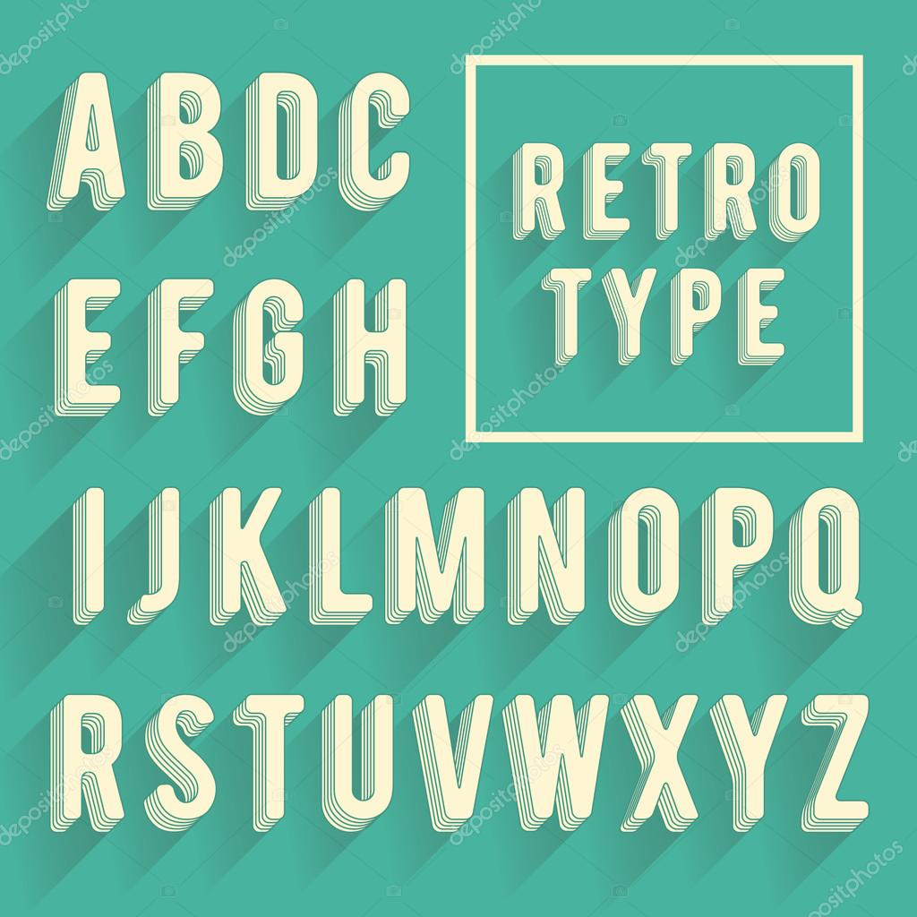 retro poster alphabet retro font with shadow latin alphabet le stock vector 169 greeek 55177609