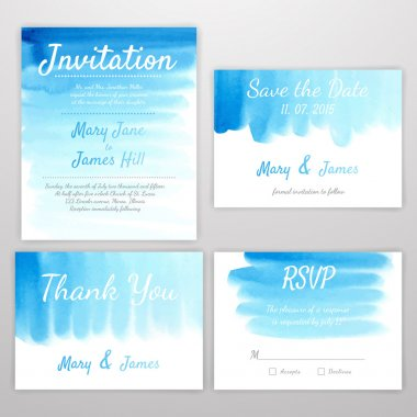 Set of Wedding Invitation with watercolor background. Template W