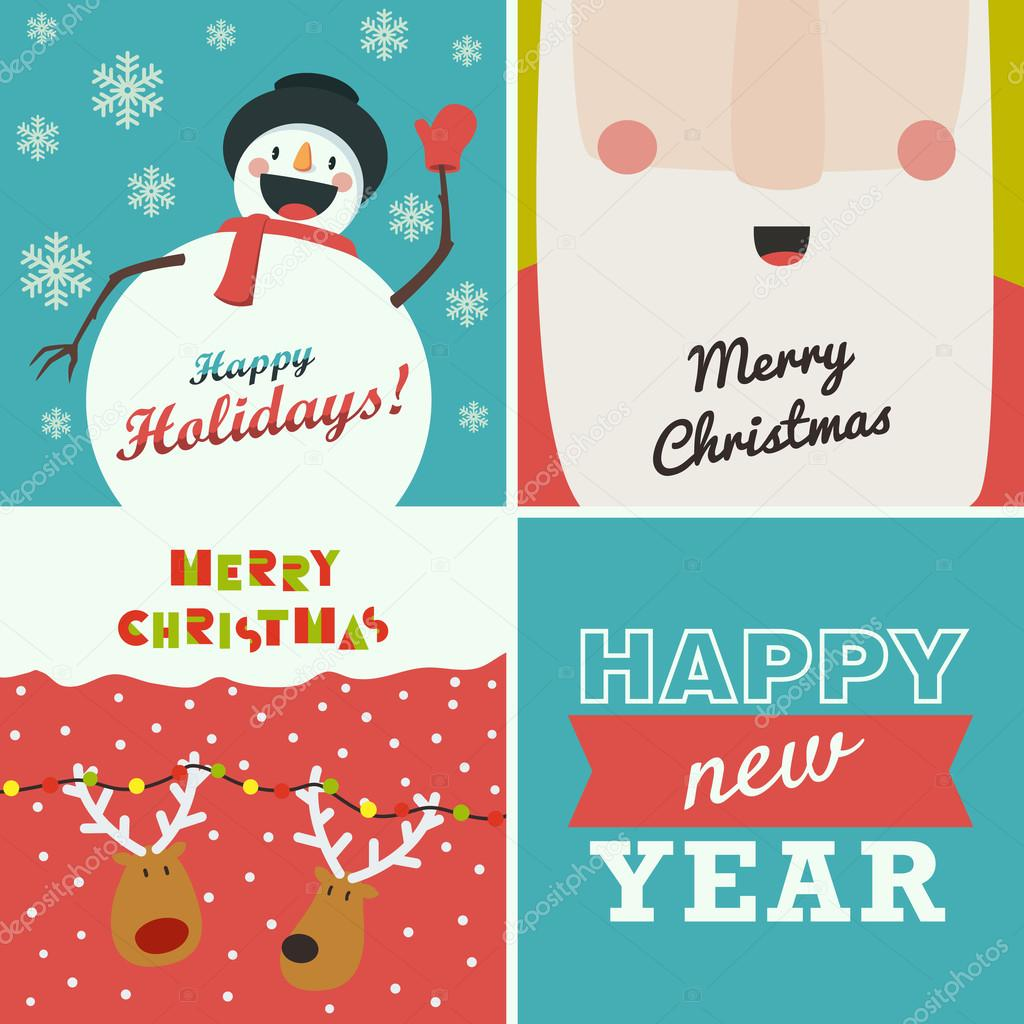Set of four christmas and new year greeting cards santa claus set of four christmas and new year greeting cards santa claus funny snowman deer on winter background and the words happy new year vector by greeek kristyandbryce Choice Image