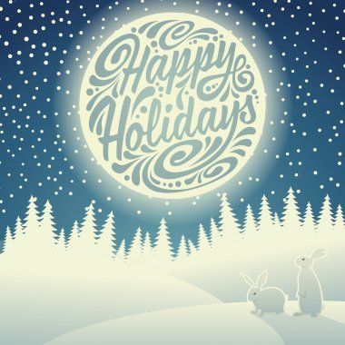 Christmas background with snowflakes, moon, hares and typographic doodle. Happy Holidays clip art vector