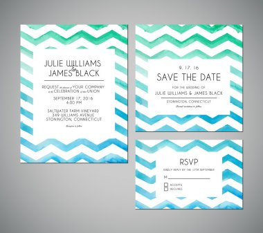 Vector set Wedding invitation cards with watercolor background