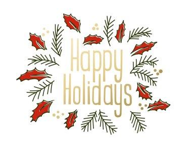 Happy Holidays vintage greeting card