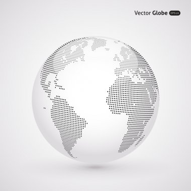 Vector abstract dotted globe, Central heating view on Atlantic o