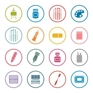 Art supplies icon set