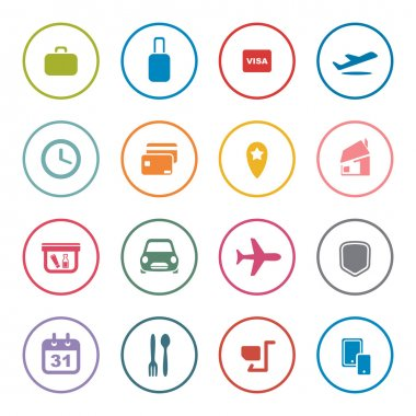 Airlines online services icon set
