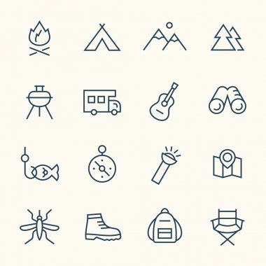 Camping line icons,vector stock vector