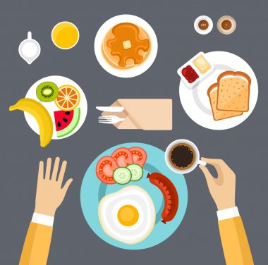 Breakfast set. Top view.vector stock vector
