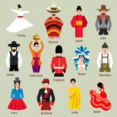 Traditional costumes  on background