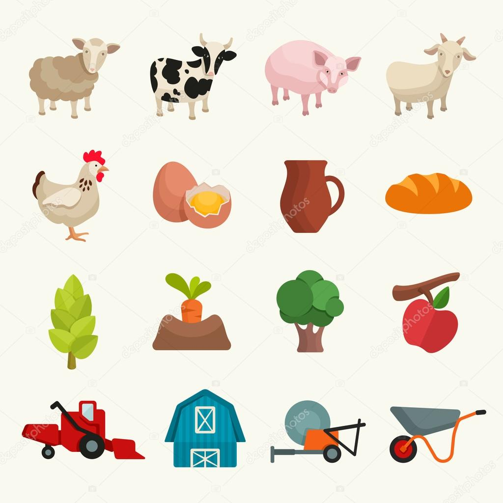 Farm theme icons set