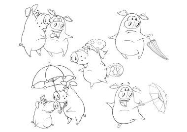 Set of a Cute Cartoon Pigs