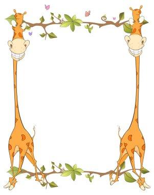 Frame with giraffes