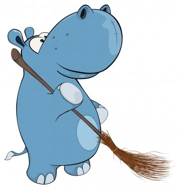 Hippopotamus with broom