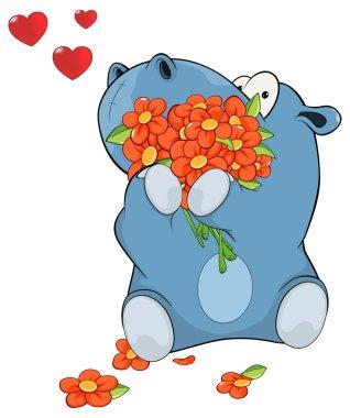 Hippopotamus with flowers