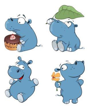 Set of cartoon hippopotamuses