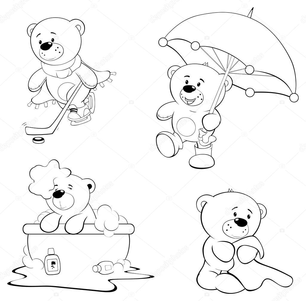 un conjunto de osos — Vector de stock © liusaart #55384593