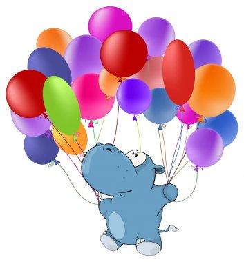 Hippopotamus and multicolored balloons
