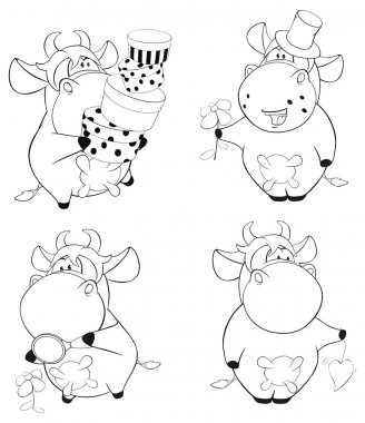 Happy Cartoon cows