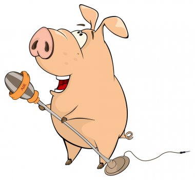 A pig-musician singing with microphone