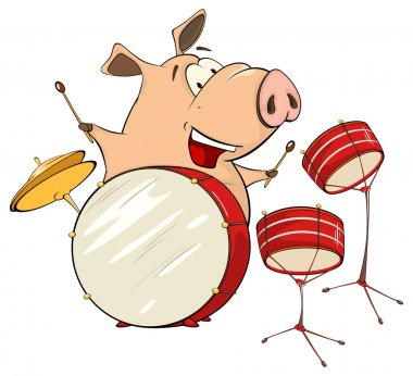 A pig-musician with drums cartoon