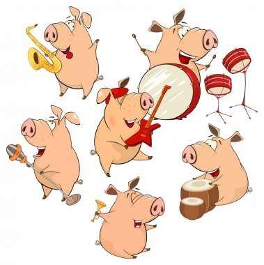Funny cartoon pigs with instruments