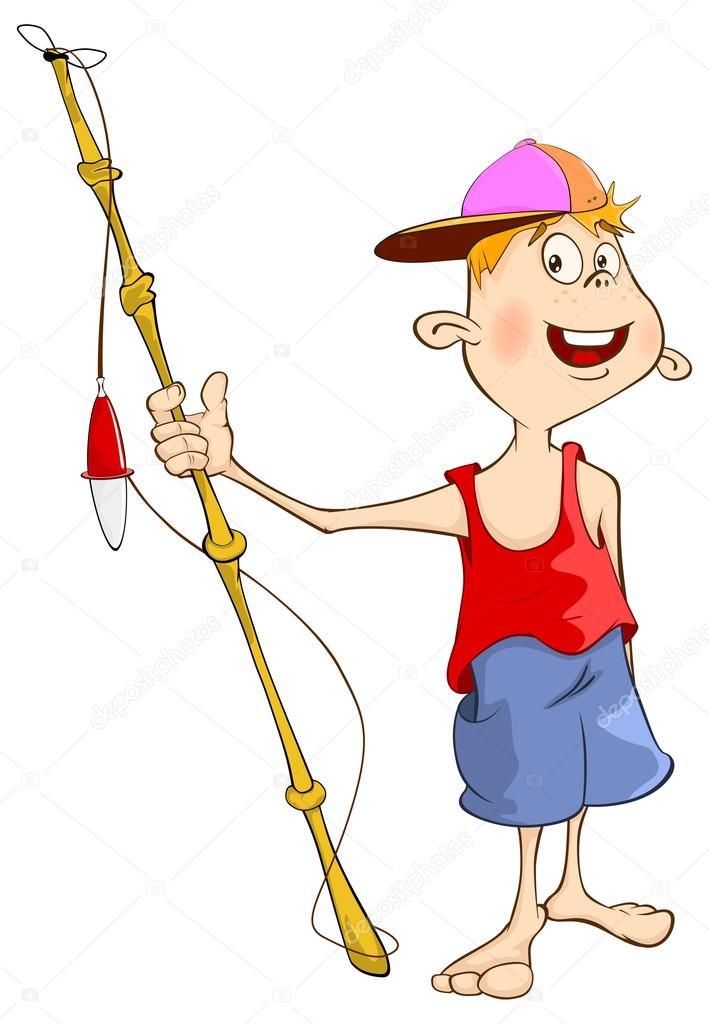 Animado: un niño pescando   Niño de dibujos animados con caña de ...