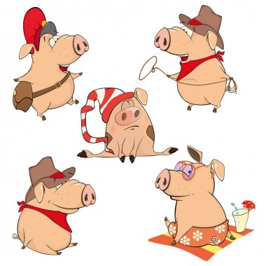 cheerful Cartoon pigs