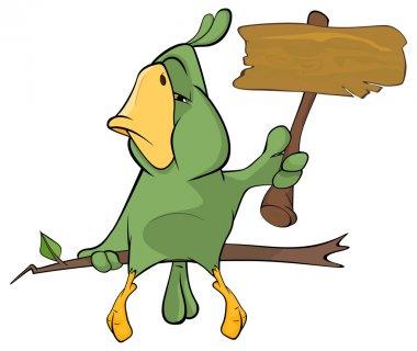 Green parrot cartoon