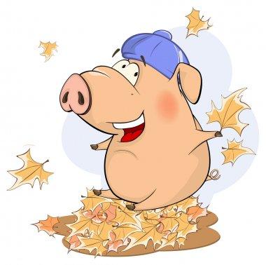 Cute pig vector cartoon