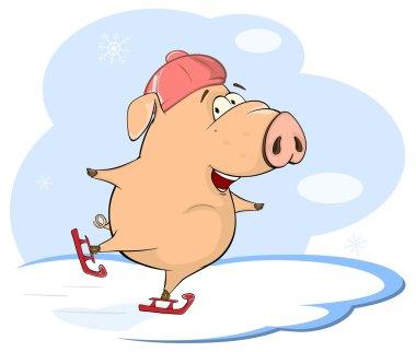 Cute pig skating