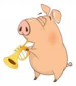 Roztomilý kreslený prase hudebník