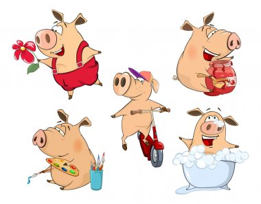 set of colorful cartoon pigs