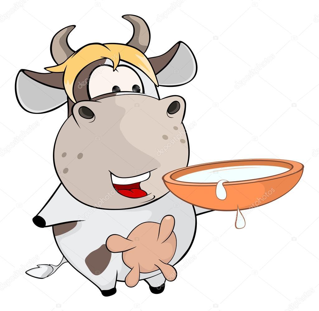 Vache dr le de dessin anim avec bol de lait image vectorielle liusaart 85074084 - Photo de vache drole ...