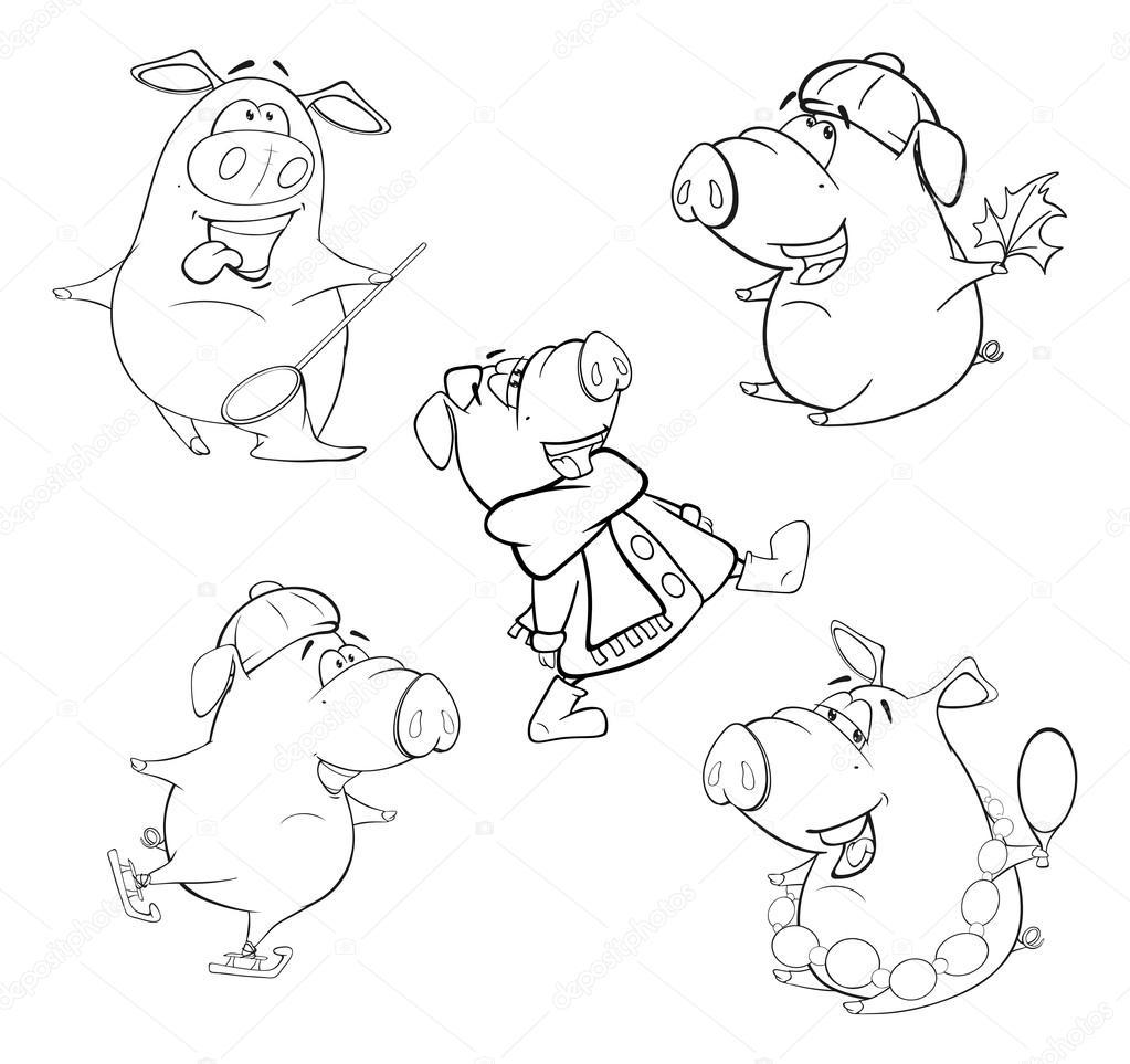 conjunto de cerdos para colorear libro — Archivo Imágenes ...