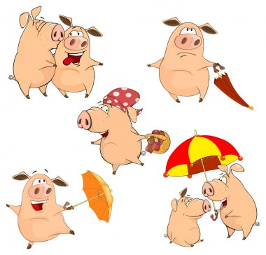 Set of cheerful pigs