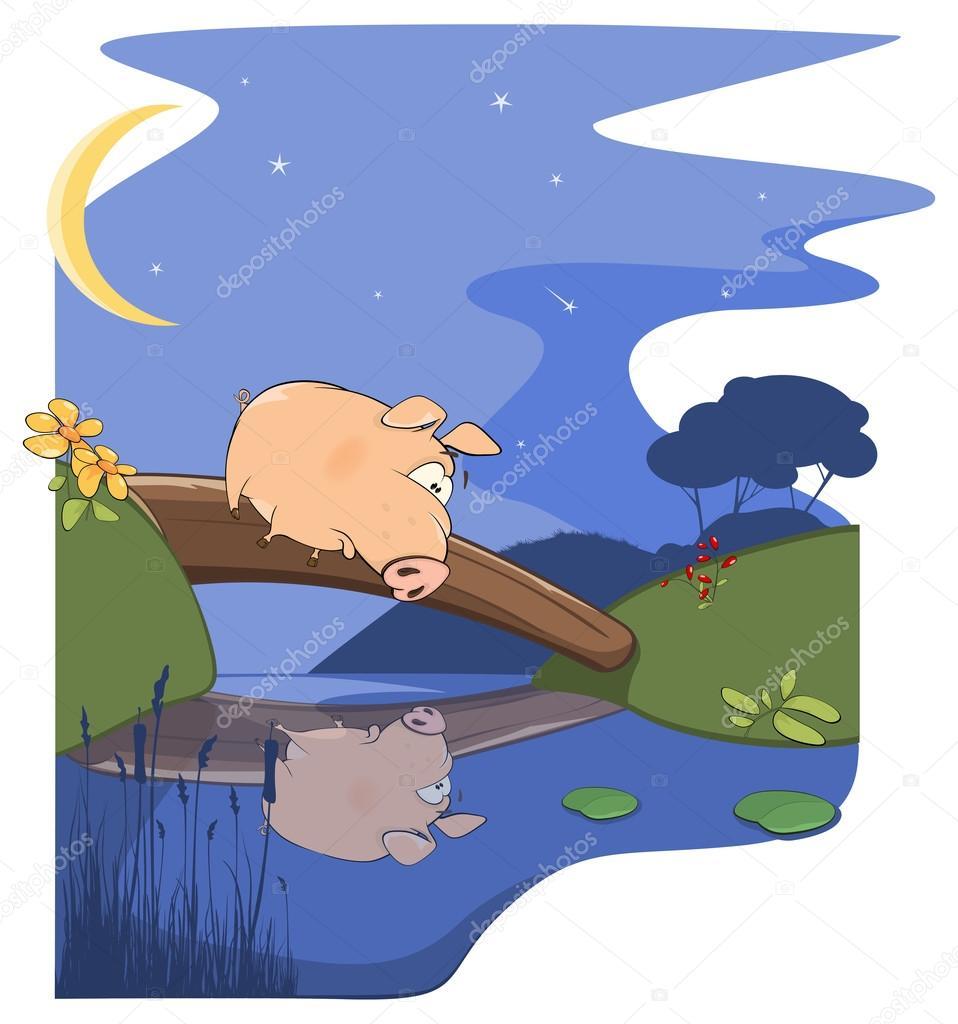 Поросенок на рыбалке