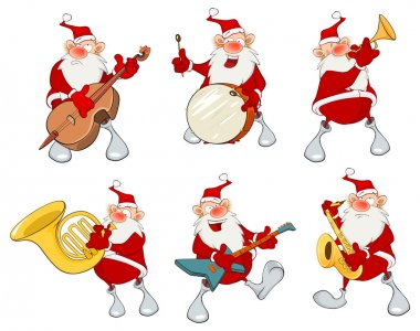 Cartoon Santa Claus musician set