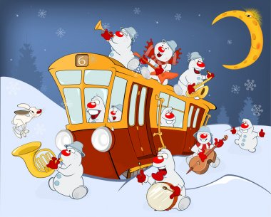 Snowmen Music Band and a Red Tram