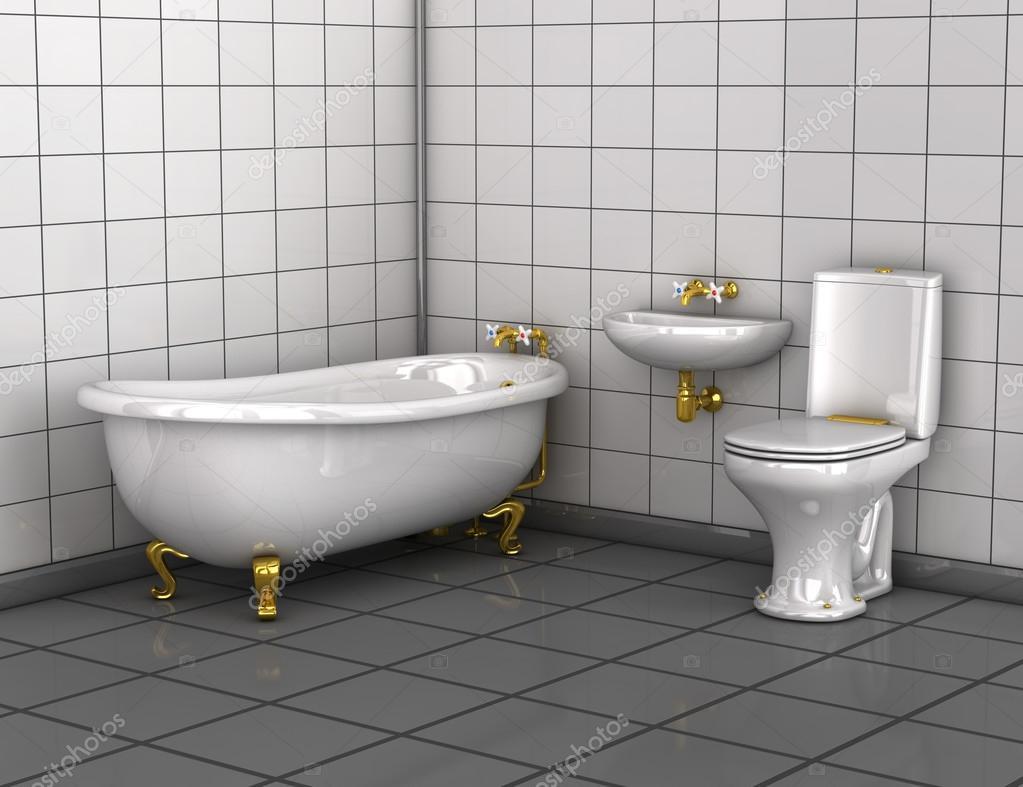 Badkamer met bad toilet en wastafel u stockfoto wir man