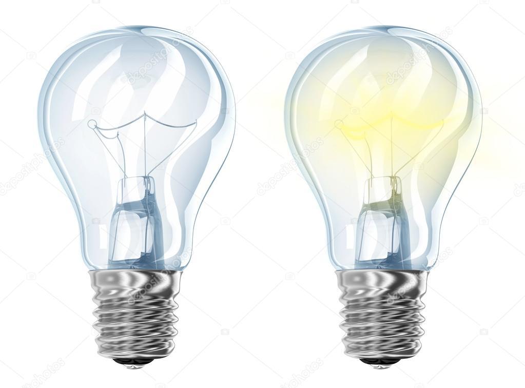 Lampada ad incandescenza elettrica due incandescente e off u foto