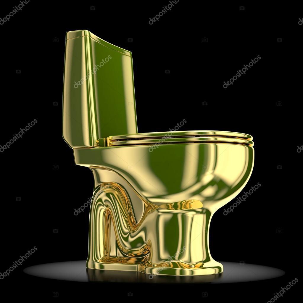 Golden Toilet On A Black Background Stock Photo C Wir0man