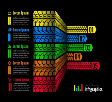 Tire tracks infographics background