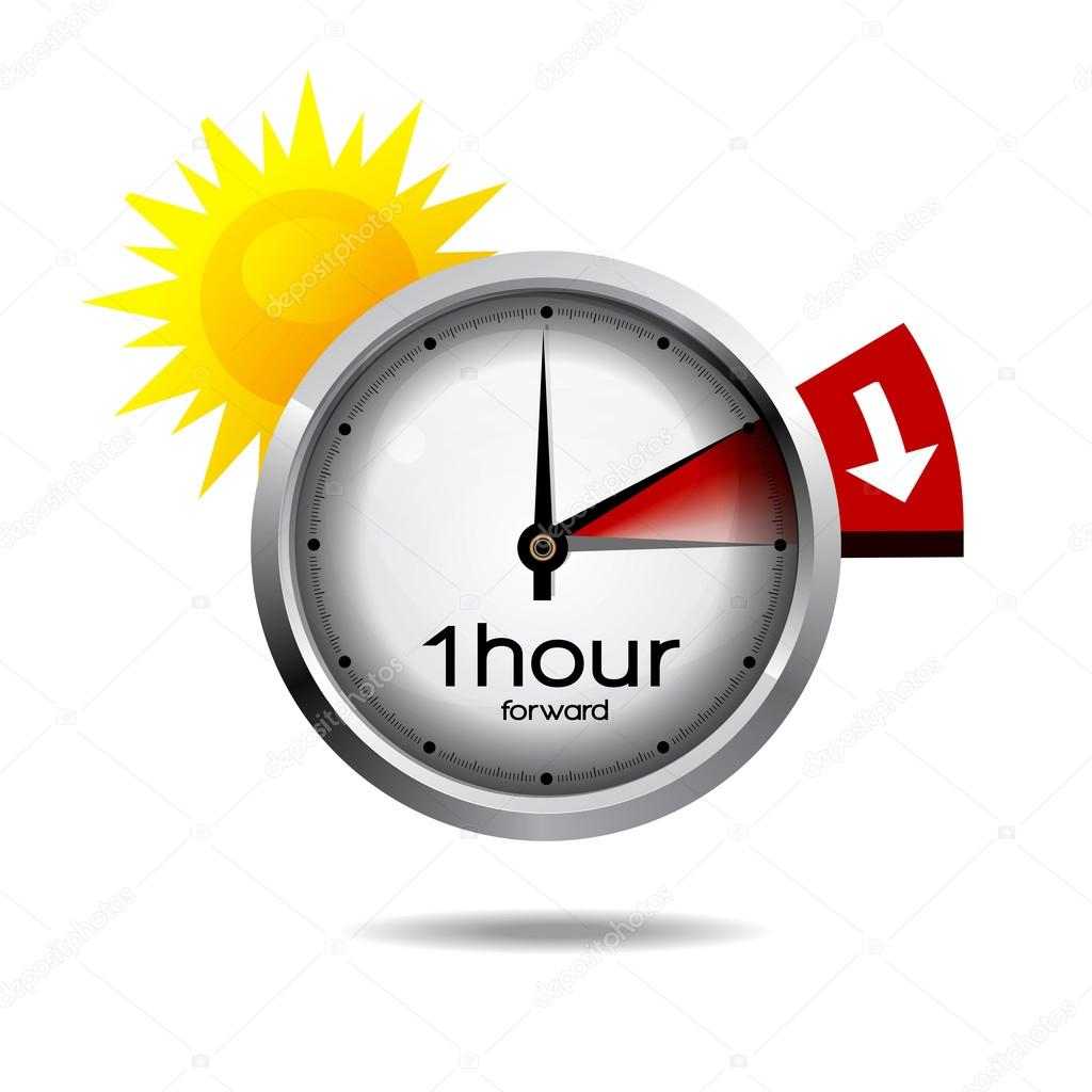 Vector illustration of a clock switch to summer time daylight saving time begins. stock vector