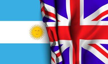 Flag of United Kingdom over the Argentina flag.